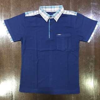 Polo Shirt Cotton - Navy - Checkered Collar & Shoulder