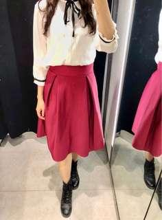 🚚 韓版復古小紅裙-暖棗紅 M