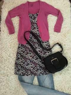 Pink cardigan with flower blouse 2pieces