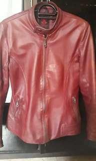 Leather Jacket kulit asli merah maroon