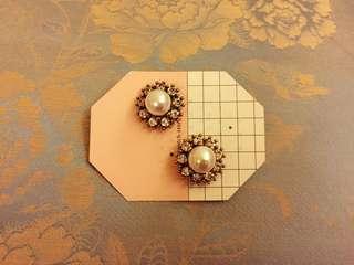 宮廷風鑲鑽珍珠華麗耳環/耳針🌺