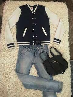 Varsity jacket navy blue black