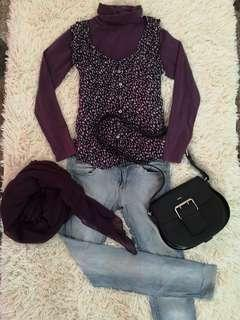 Turtleneck shirt with outwear blouse free glitter shawl 3pieces