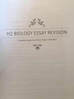 H2 Bio Paper 3 Essay Revision Package