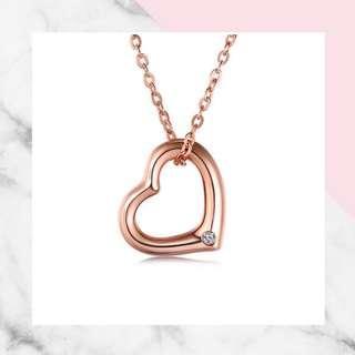 18K 金鑽石心型頸鍊