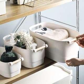 🚚 White Plastic Kitchen Bathroom Storage Basket with Handle