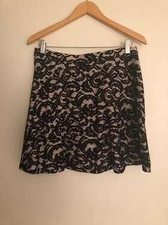 Club Monaco ruffled lace mini skirt
