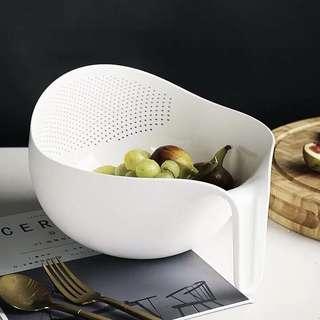 🚚 White PP Vegetable Fruits Washing Drain Basket