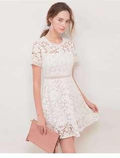Air space white Lace Dress 白色蕾絲裙