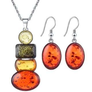 Amber Insect Color Necklace Earring Set