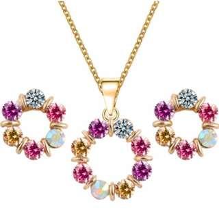Crystal Necklace Earring Rhinestone Multicolor Set