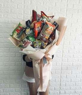 Large size Snack Bouquet with Jumbo Soft Toy
