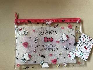 Kitty 日本帶回 透明化妝袋 粉色化妝時尚小物圖案