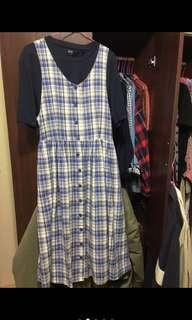 女孩別哭藍綠格紋吊帶口袋裙吊帶排扣洋裝 古著洋裝 古著裙