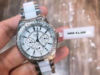 鐵達時女裝施華洛水晶多功能石英錶6.x折😈