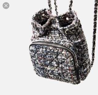 Zara tweed mini backpack