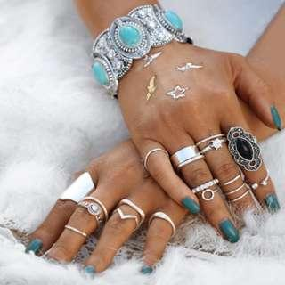 19 Pcs/Set Crystal Stone Knuckle Ring