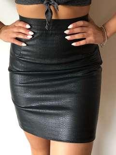 Bardot PU Leather Snake Print Skirt