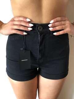 Dr Denim Black High-waisted Shorts