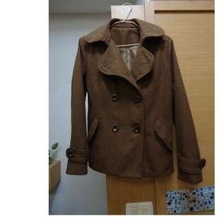 焦糖色率性毛料雙排釦大衣外套
