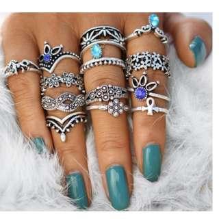13 Pcs/Set Vintage Bohemian Crystal Flower Faux Gemstone Carved Knuckle Ring