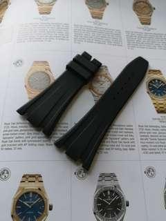 Black rubber strap for Audemars Piguet Royal Offshores AP ROO 42 mm deployant