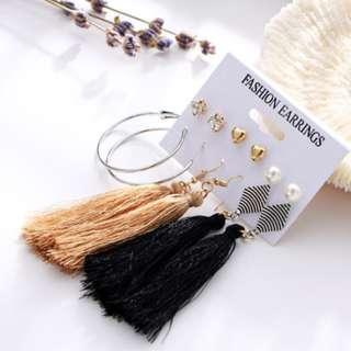 Bohemia Long Tassel Dangle Earrings Set