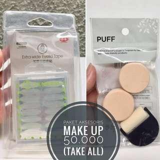 Paket makeup: eye lid tape/skotch dan The Face Shop make up puff