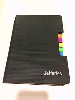 Leather cover notebook with post-it memo