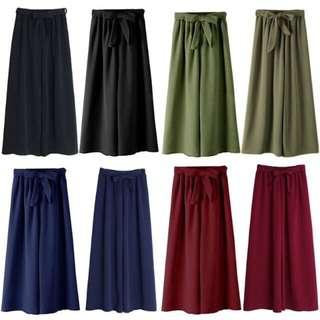 Ready Stock 1 Day Ship Women Bowknot Loose Wide Leg Elastic Pants