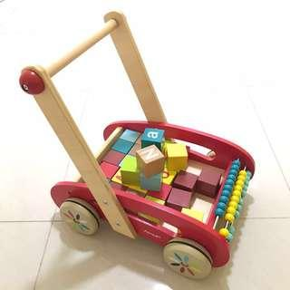 Pre-loved Wooden ABC Buggy Baby Walk with 30 Blocks