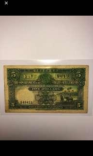 🚚 1925 Straits Settlements $5 D/69 49421 Original very Fine condition