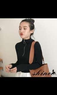 Black Long Sleeve Zipper Top