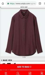 Uniqlo Rayon Long Sleeve Blouse - Wine
