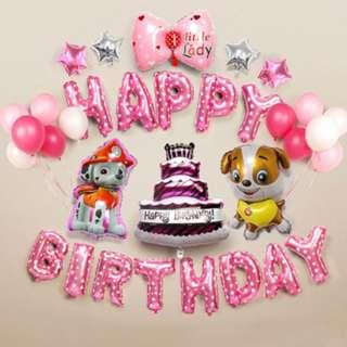 Paw Patrol Birthday Balloon Party Set (Pink)