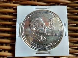 Manuel L Quezon 50 peso silver coin