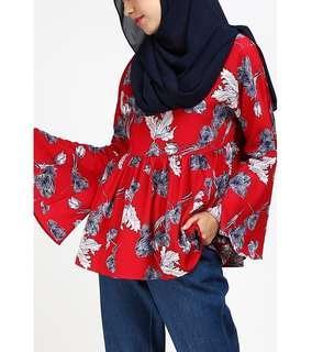 Poplook lacey gathered hem blouse 3xl