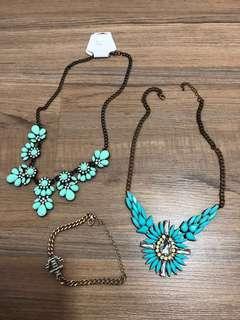 Statement necklace & bracelet