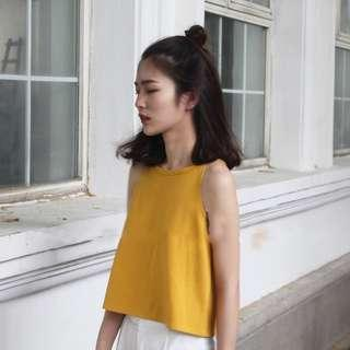 Ginger Colored Tank Top | Yellow Sleeveless Top