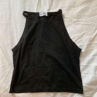 High Neck Black Cami Top