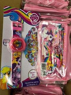 Little Pony Set: 1 Watch, 1 Big Pencil Case