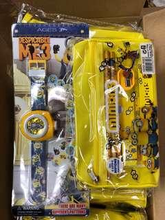 Minions Set: 1 Watch, 1 Big Pencil Case
