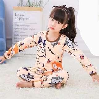 🚚 貓頭鷹🦉女童粉橘色居家服睡衣套裝-加厚 160