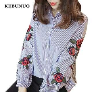 Floral Red Blue Rose Embroidery Button Up Blouse Long Sleeve Stripe Shirt