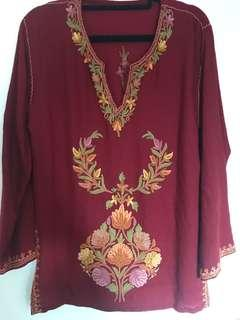 Embroidered soft merino top from Nepal