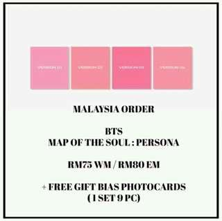 #BTS - MAP OF THE SOUL : PERSONA - PREORDER/NORMAL ORDER/GROUP ORDER/GO + FREE GIFT BIAS PHOTOCARDS (1 ALBUM GET 1 SET PC, 1 SET HAS 9 PC)