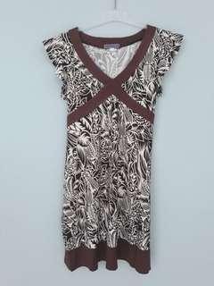 dress bunga cokelat