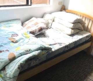 Single Wooden Bed Frame with One Uratex Matress