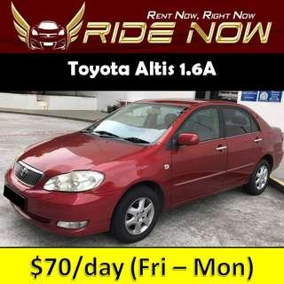 Toyota Altis 1.6A Cheap and P plate Friendly Car Rental