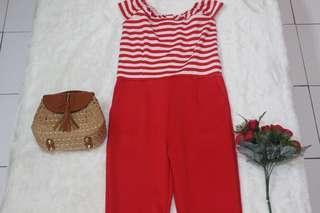 Red Stripe Jumpsuit Venice